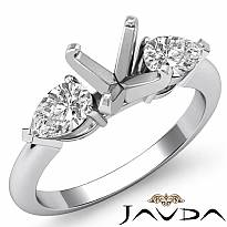 Pear Diamond Three Stone Engagement Setting Ring 18k Gold White Round SemiMount  (0.5Ct. tw.)