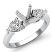 Pear Diamond Three Stone Engagement Setting Ring 14k White Gold Round SemiMount 0.5Ct - javda.com