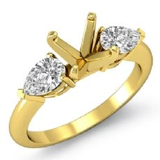 Pear Diamond Three Stone Engagement Setting Ring 18k Gold Yellow Round SemiMount  (0.5Ct. tw.)