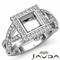 1.4ct Diamond Engagement Ring Princess Semi Mount 14K White Gold Halo Setting