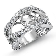 1.2 Ct Diamond Engagement Ring Round Semi Mount Halo Pave Setting 14k White Gold