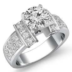 Classic Side-Stone Invisible Round diamond engagement valentine's deals in 14k Gold White