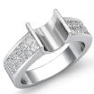 0.86Ct Princess Diamond Women's Engagement Ring Invisible Setting 14k White Gold Semi Mount - javda.com