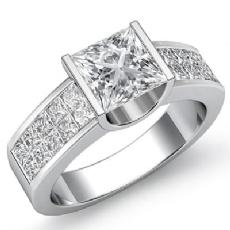 Invisible Shank Bar Setting diamond Ring 14k Gold White