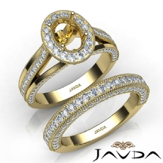 Pave Diamond Engagement Ring Bridal Sets 14k Gold Yellow Oval Semi Mount  (1.7Ct. tw.)