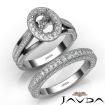 Pave Diamond Engagement Ring Bridal Sets 14k White Gold Oval Semi Mount 1.7Ct - javda.com