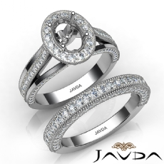 Pave Diamond Engagement Ring Bridal Sets 14K White Gold Oval Semi Mount 1.70Ct.
