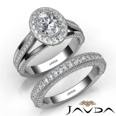 Halo Milgrain Bridal Set Oval diamond engagement Ring in 14k Gold White