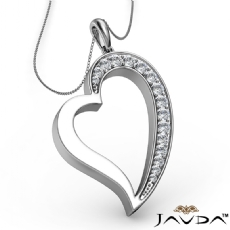 Round Pave E - F color Diamond Heart Pendant 18k Gold White with  Silver Chain 18