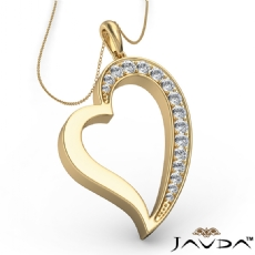 Round Pave E - F color Diamond Heart Pendant 18k Gold Yellow with  Silver Chain 18