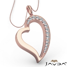 Round Pave E - F color Diamond Heart Pendant 18k Rose Gold with  Silver Chain 18