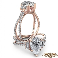 Baguette 3 Stone Split Shank Pear diamond  Ring in 18k Rose Gold
