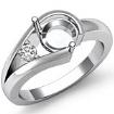 0.05Ct Diamond Solitaire Style Engagement Ring 14k White Gold Semi Mount Setting - javda.com
