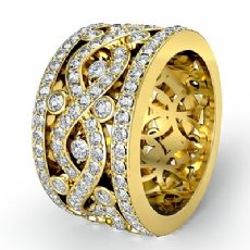 Twist Pave Round Diamond Band Womens Eternity Anniversary Ring 14k Gold Yellow  (2.5Ct. tw.)