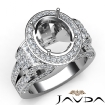 Vintage Oval Diamond Engagement Semi Mount Ring Halo Setting 14k White Gold 2.6Ct - javda.com
