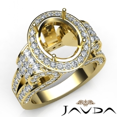 Vintage Oval Diamond Engagement Semi Mount Ring Halo Setting 14k Gold Yellow  (2.6Ct. tw.)