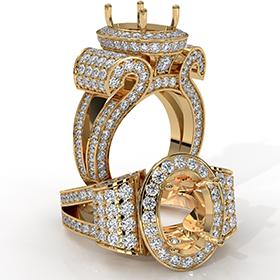 Vintage Oval Diamond Engagement Semi Mount Ring Halo Setting 18k Gold Yellow  (2.6Ct. tw.)