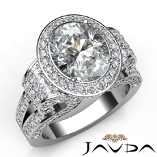 Pave Set Halo Antique Oval diamond engagement Ring in 14k Gold White