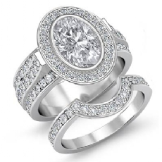 Bezel Halo Pave Bridal Set Oval diamond engagement Ring in 14k Gold White