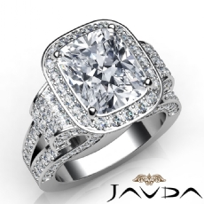 Micro Pave Circa Halo Antique Cushion diamond engagement Ring in 14k Gold White