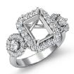 Three Stone Emerald Round Diamond Engagement Ring 14k White Gold Prong Setting 1.1Ct - javda.com