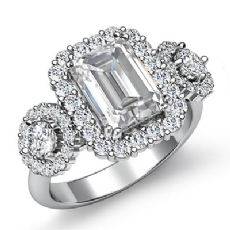 Three Stone Halo Prong Set Emerald diamond engagement Ring in 14k Gold White