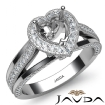 Halo Pave Diamond Engagement Heart Semi Mount Millgrain Ring 14k White Gold 0.9Ct - javda.com