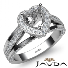 Halo Pave Diamond Engagement Heart Semi Mount Millgrain Ring 14K W Gold 0.90Ct