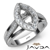 Halo Pave Diamond Engagement Marquise SemiMount Millgrain Ring 14k White Gold 0.92Ct - javda.com