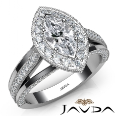 Red Carpet Style Milgrain Marquise diamond engagement Ring in 14k Gold White