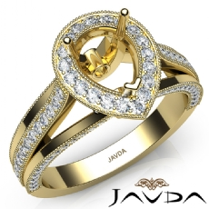 Halo Pave Diamond Engagement Pear Semi Mount Millgrain Ring 14k Gold Yellow  (0.9Ct. tw.)