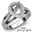 Halo Pave Diamond Engagement Pear Semi Mount Millgrain Ring 14k White Gold 0.9Ct - javda.com