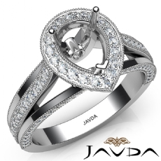 Halo Pave Diamond Engagement Pear Semi Mount Millgrain Ring 18k Gold White  (0.9Ct. tw.)