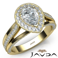Halo Milgrain Edge Split Shank diamond Ring 14k Gold Yellow