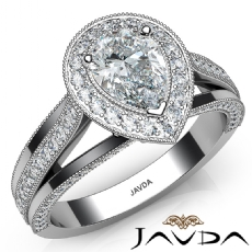 Halo Milgrain Edge Split Shank Pear diamond engagement Ring in 14k Gold White