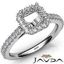 French Cut Pave Set Diamond Engagement Asscher Semi Mount Ring 14K W Gold 1Ct