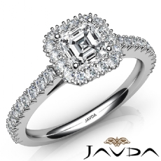 French Cut Pave Set Halo Asscher diamond engagement Ring in 14k Gold White