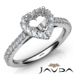 French Cut Pave Set Diamond Engagement Heart Semi Mount Ring 14k White Gold 1Ct - javda.com