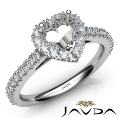 French Cut Pave Set Diamond Engagement Heart Semi Mount Ring 14K White Gold 1Ct