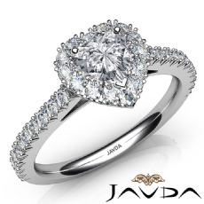 French Cut Halo Pave Set Heart diamond engagement Ring in 14k Gold White