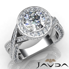 Halo Pave Set Cross Shank Round diamond engagement Ring in 14k Gold White