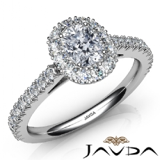 French Pave Setting Halo Cushion diamond engagement Ring in 14k Gold White