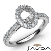 French Cut Pave Set Diamond Engagement Oval Semi Mount Ring 14k White Gold 1Ct - javda.com