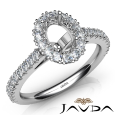 French Cut Pave Set Diamond Engagement Oval Semi Mount Ring 14K White Gold 1Ct