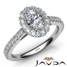 French V Cut Halo Pave Oval diamond engagement Ring in 14k Gold White