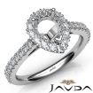 French Cut Pave Set Diamond Engagement Pear Semi Mount Ring 14k White Gold 1Ct - javda.com