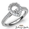 French Cut Pave Set Diamond Engagement Pear Semi Mount Ring 14k White Gold 1Ct - javda.com