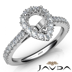 French Cut Pave Set Diamond Engagement Pear Semi Mount Ring 14K White Gold 1Ct
