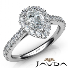 French Cut Halo Pave Setting Pear diamond engagement Ring in 14k Gold White
