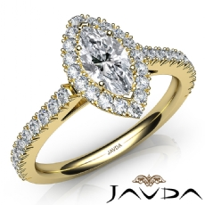 High Setting French Pave Halo Marquise diamond  Ring in 14k Gold Yellow